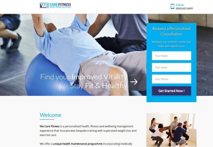Landing page for health site